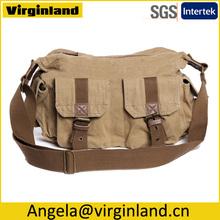 2353 Multi-functional Khaki Canvas Cross Body Shoulder Multi-Pocket Diaper Bag for Men and Women