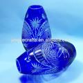 bohemien ceco di forma ovale blu cobalto cristallo colorato vaso di fiori vaso di vetro
