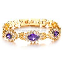 2014 New high-grade 18K gold plated Purple Stones wedding bracelet
