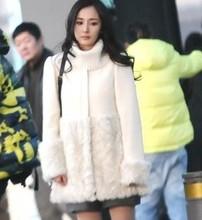Z72586A Winter Korean Style Rabbit Hair Long Woolen Women's COAT