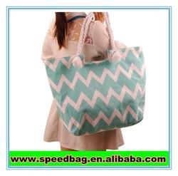 The foreign trade brand The new fashion Big wide stripe canvas bag shoulder bag