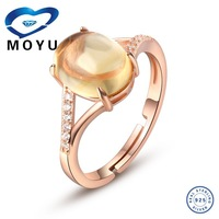 Fashion jewelry luxury Gold plated jewelry Natural rose quartz adjustalbe ring ,latest gold finger ring designs