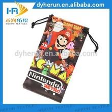 single drawstring pull microfiber bag,logo printed eyeglasses fabric cloth pouch