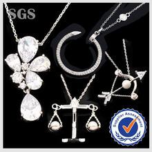 Wholesale New Design Fashion Real Platinum Plating CZ Pave Pendant Necklace