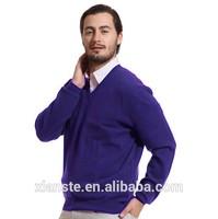 Men's cashmere wool mixture V neck long sleeve basic sweater blue