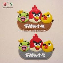 3d soft pvc colorful cartoon bird clothing brand label