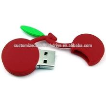 personalized custom USB flash memory /PVC fruit usb key / Cherry shape USB stick 4GB