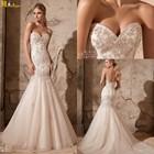 LI-408 Heart Shaped Heavy Beading Lace Appliques Mermaid Middle East Wedding Dresses