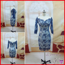 EN051 Real Sample V-neck 3/4 Sleeves Beading Lace Short Evening Dresses China