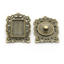 Elegant zinc alloy metal square snap button jewelry