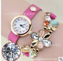 Vogue lady leather wrist watch& Candy-colored diamond gold bracelet watch&Women stainless steel wrist watch