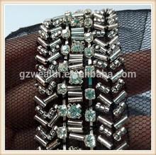 2014 New fashion black beaded trims rhinestone applique for wedding dress with diamond for dress decoration wholesale