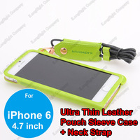Luxury PU Leather Case Cover Sleeve Pouch Bag + Lanyard for iPhone 6 4.7inch