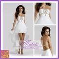 con estilo de tres niveles blanco vestido de fiesta corto frente volver a largo rebordear diseño halter hermoso vestido de noche