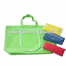 2014 Green Fashion Cotton laminate PU shopping tote bag