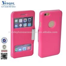 Veaqee black elegant hard back hot flip leather case for iphone 6
