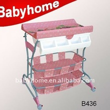 wholesale cheap plastic baby chaing table with two layer storage