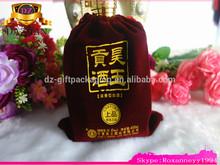 first rate velvet wine bottle bags with bead ,christmas velvet gift bag