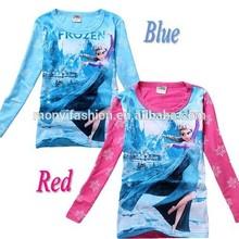 2014 New Styles Auntumn Cotton long sleeve Kids Frozen T shirt top fashion girl t shirt