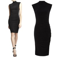 newly supplier wholesale fashion stretch jersey sleeveless turtleneck dress