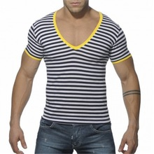 OEM Plain v neck t shirt Sale stripe 220 gsm cotton t shirt for men