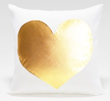 heart shaped pilow online, white blank pillow cover,gold foil heart pilow case