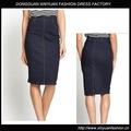 La moda de talle alto azul del dril de algodón patrón de la falda lápiz del dril de algodón de la falda