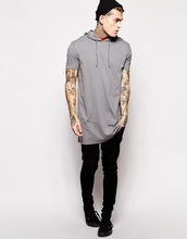 Super Longline T-Shirt With Hooded Skater Fit China products