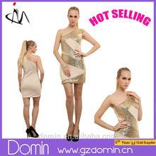 2015 Women Dress One Shoulder Bodycon Dress Sequin Dress for Christmas