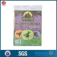 3 pk plastic halloween leaf bag,halloween gift bag with printing witch, skelenton, bat