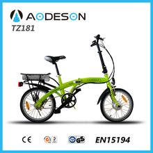 "18"" wheel 250w brushless motor lightweight mini folding electric bike TZ181 with LED 3 levels/throttle display"