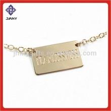 Gold Plate Metal Tag Engraving Custom Logo