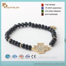 Hand make a cross charm beaded elastic bracelet