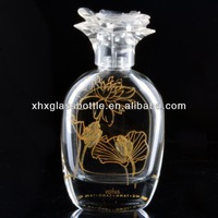 50ml 60ml beautiful antique classic Chinese style empty glass perfume fragrance bottle with engraved logo and flower cap