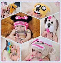 2014 Winter cartoon figures making a knit hat wholesale baby crochet hats for kids