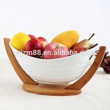 decorative ceramic fruit bowl with bamboo rack stand, stylish oval salad bowl wholesale