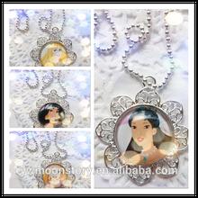 Fashion 2014 baby girls chain necklace charming Mulan/Aurora frozen princess snowflake pendnats necklace chain!!