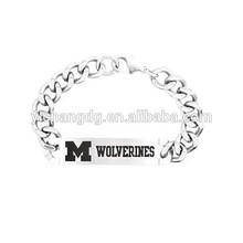 Stainless Steel Michigan Wolverines Team Bracelet