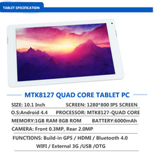 10 inch tablet pc MTK8127 Quad Core 1GB RAM 8GB rom Android 4.4 IPS MID PC Tablet