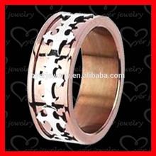 rose gold stainless steel cross mens ring