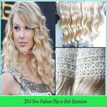 Factory price 6A wavy brazilian virgin hair flip in hair extensions