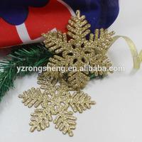 plastic gold glitter snowflake christmas ornaments