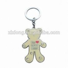 metal key chain/metal key ring/ custom key chain bear with fake diamonds