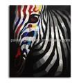 Handmade thick textured animal painting of zebra