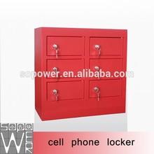 Vendible roja pública estación de carga del teléfono con 6 cerraduras con llave