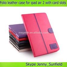 super slim card slots leather folio case for ipad air 2, for ipad case with card pocket , for ipad air 2 case cover