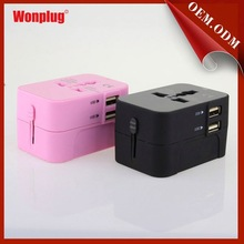 Wonplug 2014 the newest 5V/2.1A dual USB universal travel adapter usb