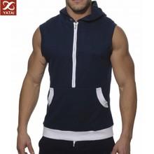 2014 Men's New Design Collar Zipper sleevless hoodie