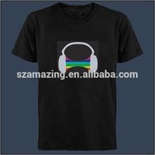 El sound sensitive t-shirt Light Up Flashing Equalizer EL LED T-Shirt Men for Rock Disco Party DJ