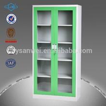 compact vertical glass door metal office cabinet